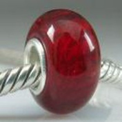 Beads and Dangles European charm glass bead red-Fit All Brands Silver Plated Bracelets Beads Charms