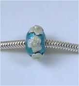 Blue 2 Tone Flowers .925 European Charm Bead