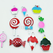 Candy Treats Food Mixed Lot Charms - Lot of 15 - DIY Jewellery Crafting 8mm