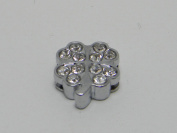 Shamrock Rhinestone Slide Charms - Lot of 15 - Jewellery Crafting 8mm