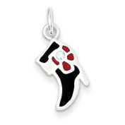 Sterling Silver Black & Red Enamelled Boot Charm. Metal Wt- 1.2g