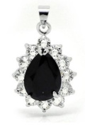 Titanic Inspired Elegant Tear Drop Faceted Glass Crystal with Rhinestone Pendent