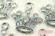 M81 Wholesale 10 PCS Cute Crystal Queen Princess Crown Pendant Charm