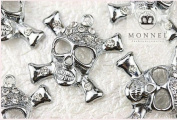 M70 Wholesale 10 PCS Cute Crystal Skull Cross Bones Pendant Charm