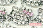 K05 Wholesale 10 PCS Cute Adorable Crystal Hello Kitty Cat Pendant Charm