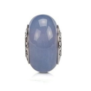Blue Chalcedony Gemstone Charm Bead on Sterling Silver Whole Core, Fits Jovana and All Brands Charm Bead Bracelets and Necklace.