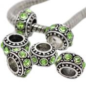 Six (6) Beautiful Antique Silver Peridot Birthstone Light Green Rhinestone Spacer Bead Charm. Fits Pandora, Biagi, Troll, and Chamilla Bracelets