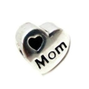 """Authentic Eveserose .925 Sterling Silver """"Heart Love Mom"""" Charm Bead Compatible with EvesErose Pandora Bracelet (in EvesErose Brand Packaging) Mothers Day Gifts"""