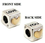 "Authentic Eveserose .925 Sterling Silver ""I Love You cube"" Charm Bead Compatible with EvesErose Pandora Bracelet"