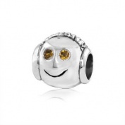 Sterling Silver Headphone Boy Charm with Citrine Gemstones , Fits Pandora and All Brands Charm Bracelets and Necklace.