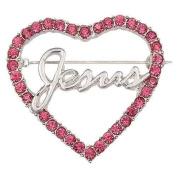 Jesus Pink Rhinestones Heart Pin Brooch Christian