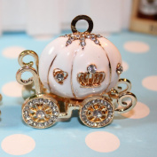 Beaing Station Luxury Golden Pumkin Carriage W/clear Rhinestones & Oil Driped 45mm ~ Huge Charm~white