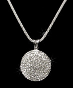 Crystal Rhinestone Round Pendant Necklace, Crystal NEC-2028A