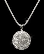 Crystal Rhinestone Round Pendant Necklace, Crystal NEC-2028A