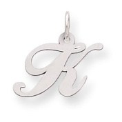 Genuine .925 Sterling Silver Small Fancy Script Initial K Charm.  .  d.