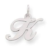 Genuine .925 Sterling Silver Small Fancy Script Initial K Charm.  .  d.