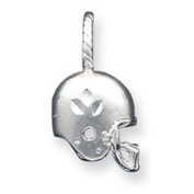 Sterling Silver Satin Diamond Cut Football Helmet Charm