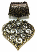 3-6 Day Delivery- DIY Trendy Antique Bronze Heart with Rhinestones Interchangeable Scarf Pendant Charm Necklace Accessory Scarf Decoration Medallion Pendant ONLY! Scarf NOT Included