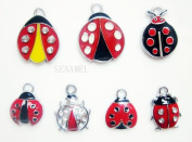15 PC Cute Lady Bug Beetle Mixed Lot of Charms - DIY Jewellery Crafting 8mm Enamel Pendants