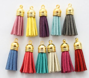 10 PCS Fashion Colour Terylene Tassel Golden Charms 37mm