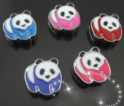 15 PC Cute Panda Mixed Lot of Slide Charms - DIY Jewellery Crafting 8mm Enamel Pendants