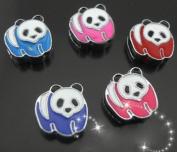 15 PC Cute Panda Mixed Lot of Slide Charms - DIY Jewellery Crafting 8mm Enamel Pendants
