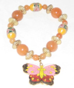Carnelian Stone Stretch Bracelet with Removable Cloisonne Butterfly Charm