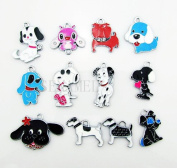 Cute Dog Puppy Mixed Lot Charms - Lot of 15 - DIY Jewellery Crafting 8mm