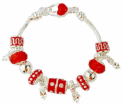 Fashion Exquisite Love European Charm Bracelet Cz Silver Murano Glass Beads