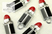 M93 Lovely Gift Wholesale Red Lip Stick Crystal Charm Pendant Bead