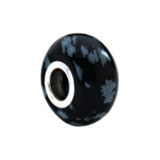 Kera Flake Obsidian Natural Stone Bead in Sterling Silver - Fits Most Pandora Bracelets