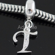 You Pick Alphabet Letters .925 Sterling Silver Charm With CZ Fits Pandora, Biagi, Troll, Chamilla and Many Other European Charms