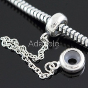 .925 Sterling Silver Rubber Stopper Safety Chain Fits Pandora, Biagi, Troll, Chamilla and Many Other European Charm #EC425