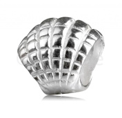 .925 Sterling Silver charm Freedom Sea Shell Bead Fits Pandora, Biagi, Troll, Chamilla and Many Other European Charm #EC224