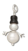 Sterling Silver Two Pearl Snowman Charm with Scarf #53106