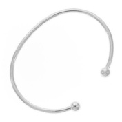 Stainless Steel Bangle Cuff Charm Bracelet 18cm . Fits Most Major Charm Beads.