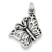 Sterling Silver Antiqued Butterfly Charm. Metal Wt- 2.5g