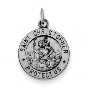 Sterling Silver Antiqued St. Christopher Medal.