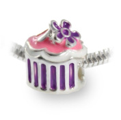 Pink Cupcake Bead Charm with Purple Flower for All European Style Charm Bracelets