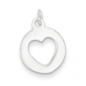 Sterling Silver Polished Circle With Heart Charm - JewelryWeb