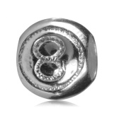 .925 Sterling Silver Lucky 8 Ball Bead Fits Pandora, Biagi, Troll, Chamilla and Many Other European Charm #EC108