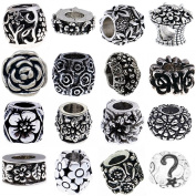 [15] Flower Pandora Style Bracelet Charms European Antique Silver Floral Spacer Beads, Bulk Lot of Fifteen Spacers for Bracelets and Necklaces, Bonus Charm, Gift Bag, an Authentic Timeline Treasures Original Manufactured By the Knight's Treasure, Satis ..