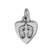 Baby Footprints in Heart Sterling Silver Charm