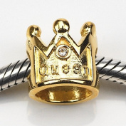 18k Gold Silver Crown for a Queen .925 Sterling Silver Charm Fit 3mm European Bracelets