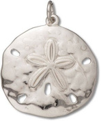 Sterling Silver High Polish Medium Sand Dollar Charm with Split Ring - Item #3355