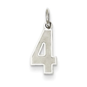 Sterling Silver Small Satin Number 4