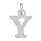 Greek Alphabet Letter Upsilon Charm Sterling Silver - Made in the USA