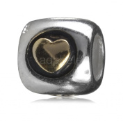 .925 Sterling Silver Forever Love Gold Heart Bead Fits Pandora, Biagi, Troll, Chamilla and Many Other European Charm #EC87