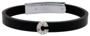 Sterling Silver Block Initial Letter C Alphabet Charm with CZ Stones, for use with 8 mm Flat Rubber Bracelets