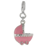 Beautiful Pink Colour Baby Stroller Charm Silver Pendant